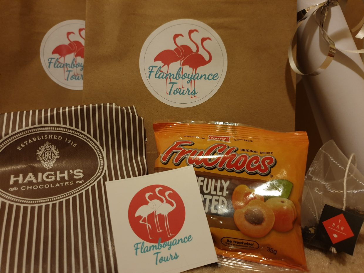 Goody bag of Adelaide food received at the end of Adelaide walking food tour The F Factor.