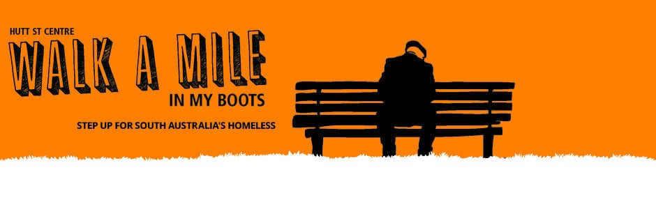 Promotional picture for Hutt St Centre Adelaide's Walk A Mile In My Boots event for homelessness.