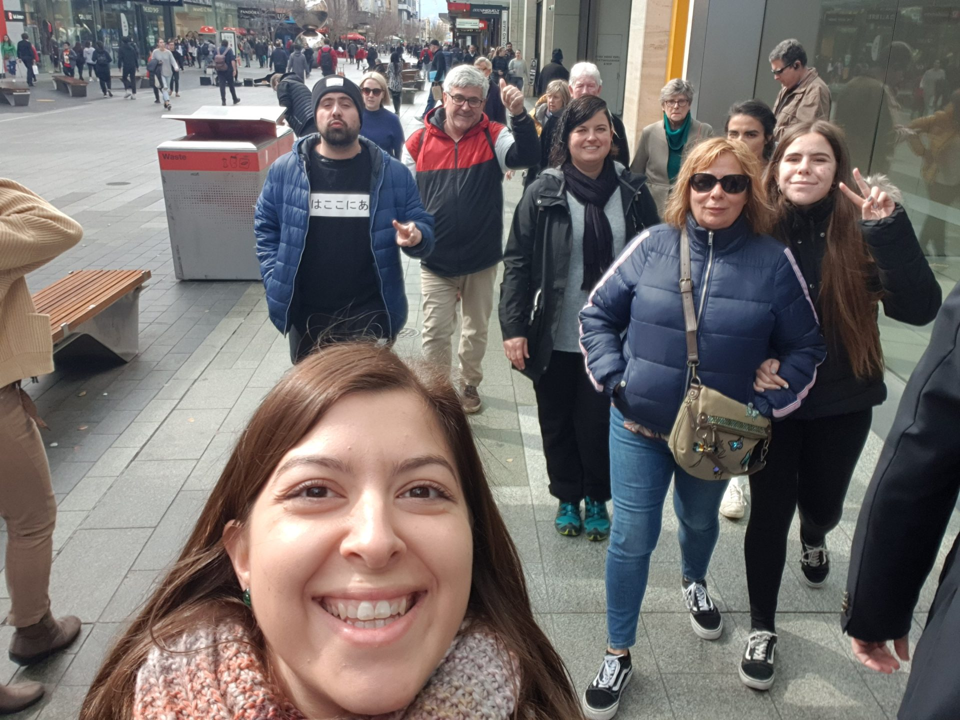 Selfie from a tour guide as she leads travellers through Adelaide with Flamboyance Tours